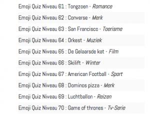Antwoorden niveau 51 t:m 70 emoji quiz